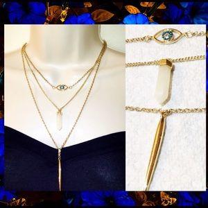 3 Layer Gold Necklace Crystal+Eye+Bar Drop Pendant